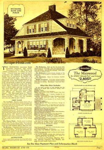 """1920s mail-order catalog page for Sears """"Maywood"""" kit house"""