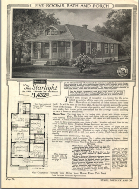 Kit house order page - Sears Starlight